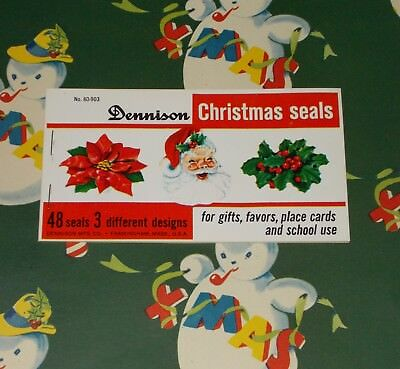 48 Vtg Christmas Dennison Wrapping Paper Seals Booklet Santa Holly Mint Nos 1950
