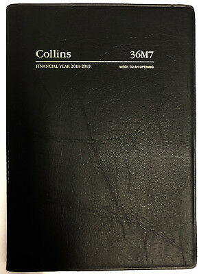 2018 2019 Collins A6 Week to Opening Financial Year Diary Vinyl Cover BLACK 36M7