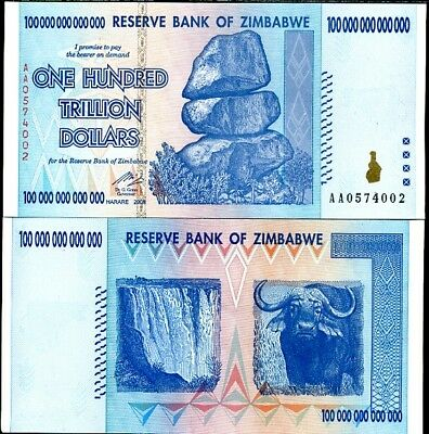 Zimbabwe 100 Trillion Dollars 2008 P 91 Aa Banknote Currency Uncirculated Unc