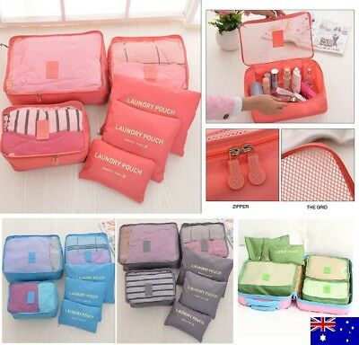 6pc Packing Cubes Travel Luggage Organiser Clothes Suitcase Storage Bags / Pouch