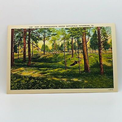 Postcard Part of Intrenchments Crater Battlefield Petersburg VA Linen B-12m