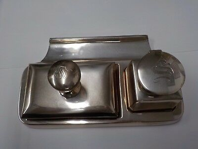 800 Silver High Quality Signed Baltensperger 3pc Art Deco Desk Set 780gr