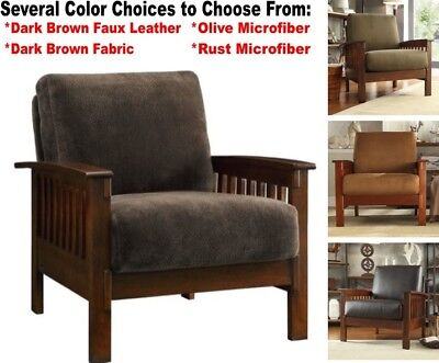 Mission Style Oak Accent Chair Living Room Arm Chairs Brown Olive Rust Armchairs