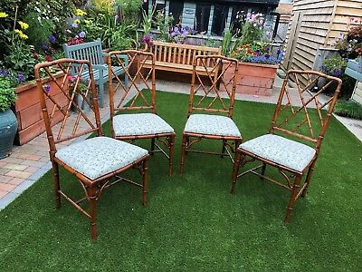 Faux Bamboo Chinoiserie Chippendale Style Chairs
