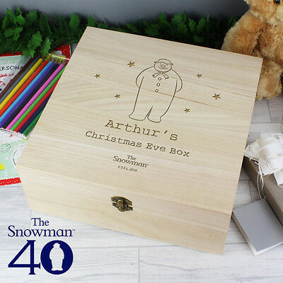 Personalised The Snowman Large Wooden Christmas Eve Box, Xmas Kids Boys Girls