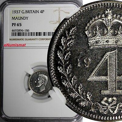 Great Britain George VI Silver PROOF 1937 4 Pence MAUNDY NGC PF65 KM# 851