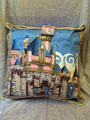 """DISNEY SLEEPING BEAUTY CASTLE PILLOW by JEFF GRANITO - LARGE 18"""" GOLD CORD ROPE"""