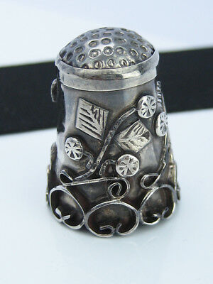 Antique Victorian Sterling Silver Aesthetic Flowers Applique Art Sewing Thimble
