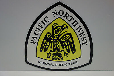 HEAVY. MINT NOS PACIFIC CREST TRAIL SYSTEM DIAMOND SHAPED BAKED ENAMEL SIGN