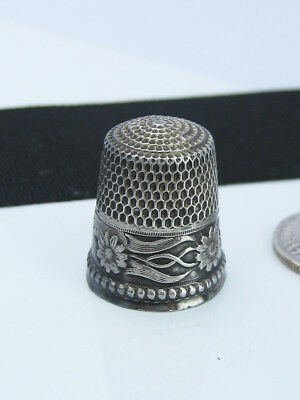 Antique Victorian Sterling Silver Art Applique Sewing Thimble Aesthetic Flowers