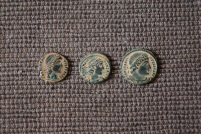 Lot Of 3 Rare Ae Ancient Roman Coins Perfect Quality Uncleaned Desert Patina