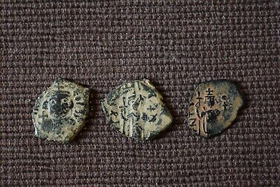 Lot Of 3 Rare Ae Ancient Arab Byzantine Coins Good Quality Desert Patina