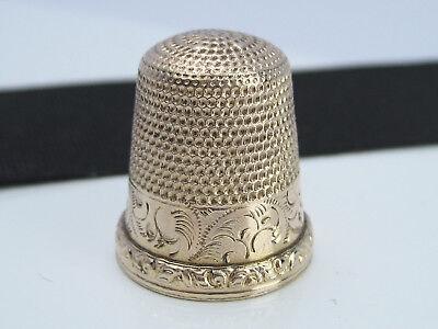 Antique Victorian 14K Gold Filled Emboss Engraved 1877 Sewing Thimble