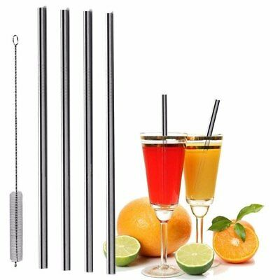"""Eco-Friendly Reusable Stainless Steel Metal Straws 10.5"""""""