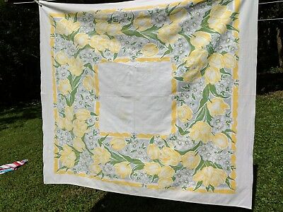 """Vintage Mid Century CALLAWAY Yellow Floral Tablecloth 50.5"""" X 46"""""""