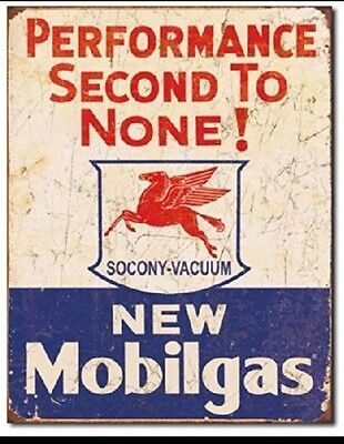 Mobil Gas Gasoline Service Garage Performance Vintage Retro Metal Tin Sign New