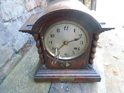 VINTAGE OAK MANTLE CLOCK- MILITARY GIFT FROM THE SERGEANTs MESS 1923-Bulford
