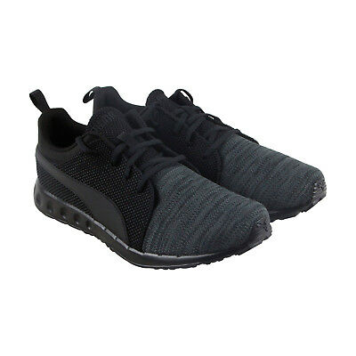 e42db4f83f20 Puma Carson Runner Knit Eea Mens Black Textile Athletic Running Shoes