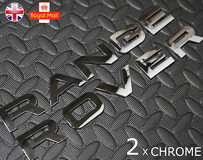 2 x CHROME RANGE ROVER BADGE L322 SPORT P38 FRONT REAR CLASSIC EVOQUE