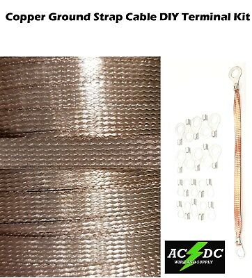 """15' Copper Ground Strap Cable KIT + DIY Terminal Kit 3/8""""  FLAT Braid Wire"""