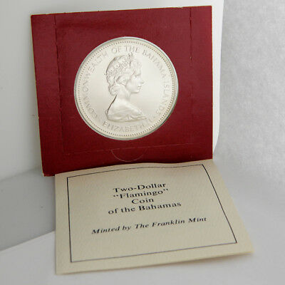 1973 Bahamas $2 Sterling Silver Uncirculated Flamingo Franklin Mint Coin