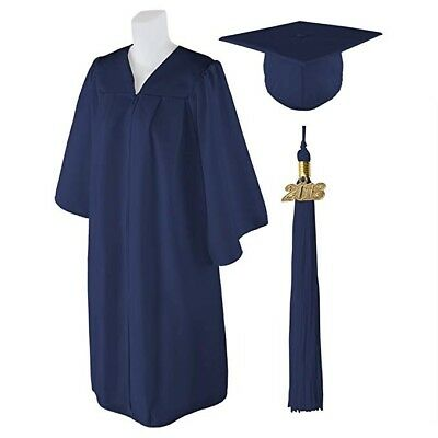 "Navy Graduation Cap/Gown/2018 Tassel Size 4'6""-4'8"" with International Shipping"