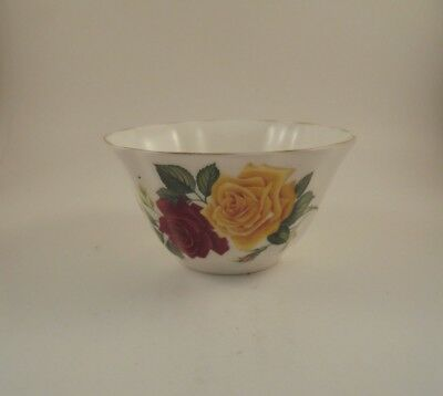Royal Grafton Open Sugar Bowl Yellow & Red Roses Pattern #1921 Bone China