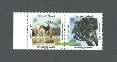 2017- Morocco- Maroc - Flora and Fauna of Morocco- Strip of 2 stamps MNH**