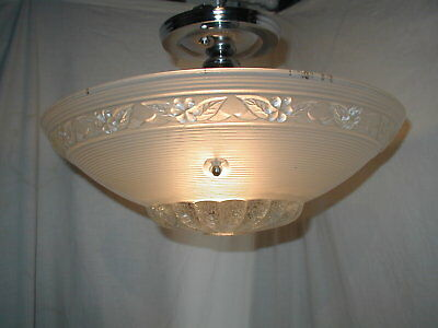 Antique Art Deco 30S Large Glass 3 Chain Shade Ceiling Light Fixture Chandelier