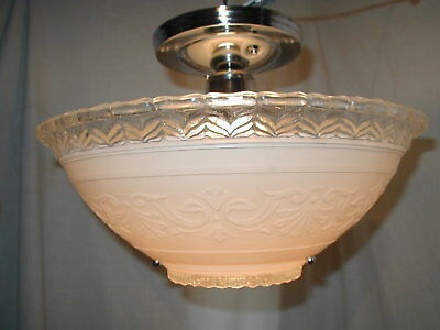 2 Antique Art Deco 30S Glass Wagon Wheel 3 Chain Shade Light Fixture Chandelier