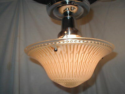Vtg Antique Art Deco Unusual Peach Pink Shade Chrome Light Fixture Chandelier