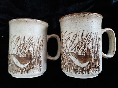 Vintage PAIR Dunoon ceramics mug decorated with two wrens birds bull rushes