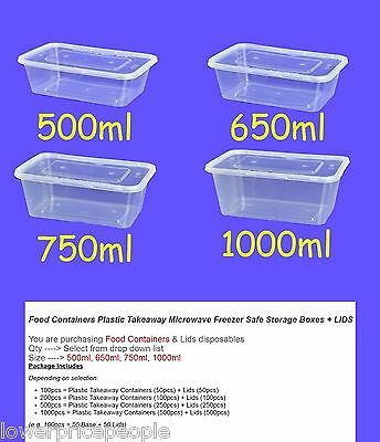 Food Containers Plastic Takeaway Storage Boxes Bulk 500ml 650ml 750ml 1000ml NEW