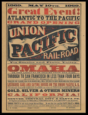 1869 Union PacificTranscont. Railroad Poster Reprint On 100 Year Old Paper *P008