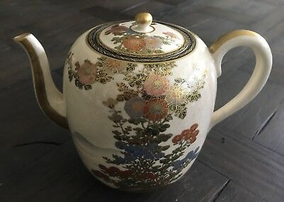 Antique Japanese Kyo Satsuma Teapot Signed w Mums Mountain & Lake
