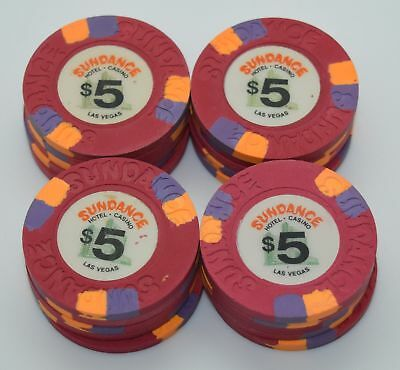Set of 20 Sundance $5 Casino Chips Las Vegas Nevada House Mold Paul-son 1980's