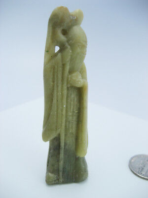 Antique Tibetan Buddhism Monk Asian 3D Hand Carved Green Stone Amulet Statue