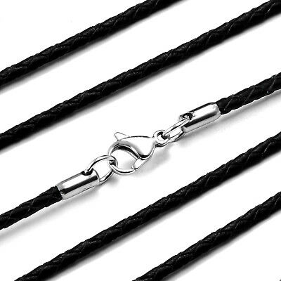Twisted Braided Rope Black Leather Cord 22 Inch Chain Necklace with Silver Clasp