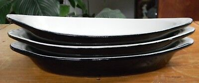 3 H F COORS CHINA Chefsware Oval AU GRATIN DISHES Black Restaurant Ware 75H