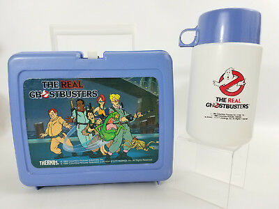 Vintage The Real Ghostbusters Lunchbox Thermos Plastic 80s Kids Cartoon 1984