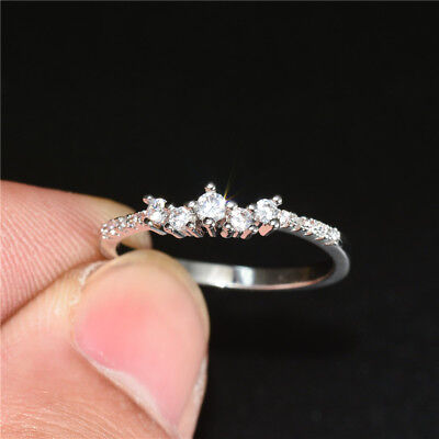 Elegant 925 Silver Wedding Rings for Women Jewelry White Sapphire Ring Size 6-10
