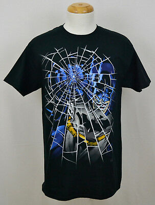 Batman T-shirt DC Comics Punching Through Glass Graphic Tee Cotton Black NWT