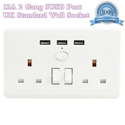 13A White Charger Outlets Double 2 Gang Sockets With 3 USB Ports Plate Wall Plug