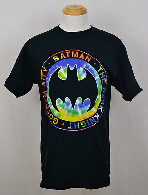 Batman Tie Dye Logo T-shirt DC Comics Dark Knight Graphic Tee Cotton Black NWT