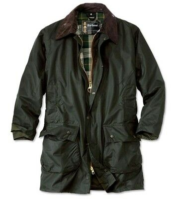 Mens BARBOUR Border Sage Waxed Jacket Green Size 42 NEW FAST SHIPPING