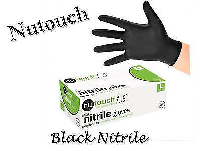 PREMIUM Black Nitrile Gloves NUTOUCH AQL 1.5 MEDICAL GRADE Finger Textured Grip