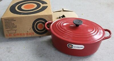 Vintage Le Creuset French Oval Oven Red Enamel Cast Iron Dutch 3.5 Qt France 80s