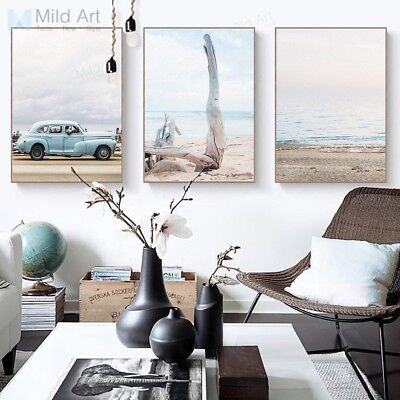 Sea  Beach Landscape Posters Prints Nordic Home Decor Wall Art Canvas Paintings