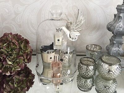 CANDLE CLOCHE VINTAGE TEA LIGHT CHIC FRENCH GLASS BELL DOME JAR - Large