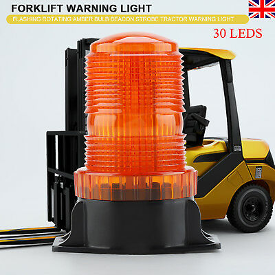 DC 10-110V 30 LEDs Flashing Rotating Amber Bulb Strobe Forklift Warning Light UK